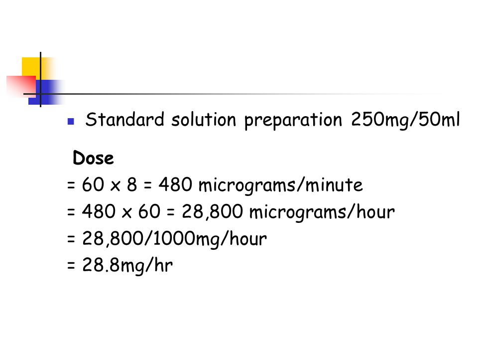 Standard solution preparation 250mg/50ml Dose = 60 x 8 = 480 micrograms/minute = 480 x 60 = 28,800 micrograms/hour = 28,800/1000mg/hour = 28.8mg/hr