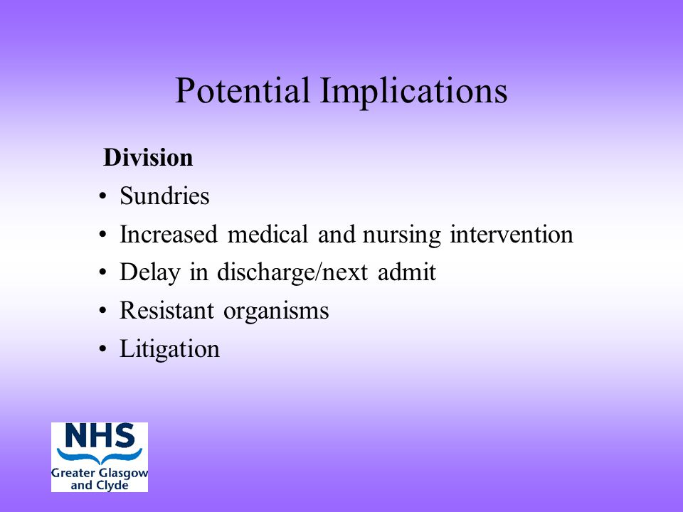 Potential Implications Division Sundries Increased medical and nursing intervention Delay in discharge/next admit Resistant organisms Litigation
