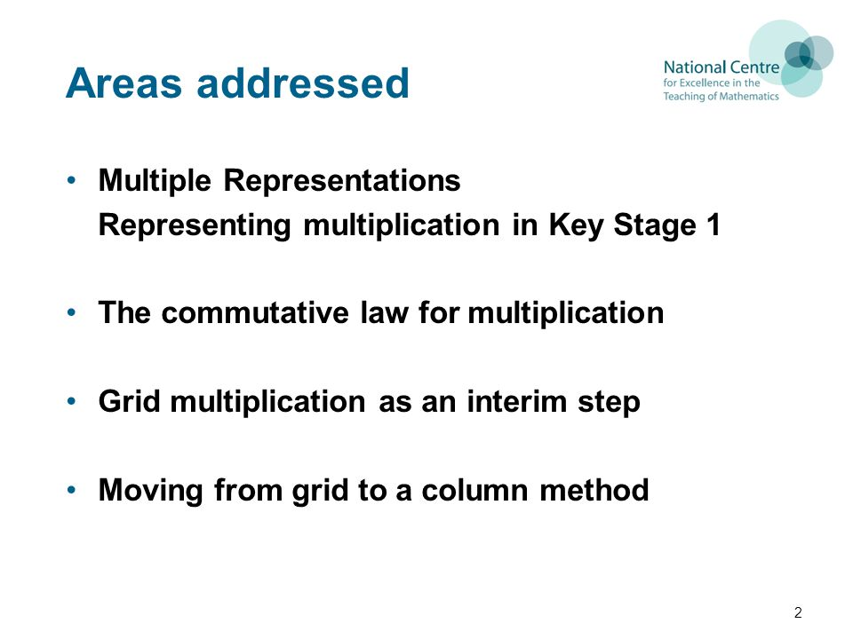 Areas addressed Multiple Representations Representing multiplication in Key Stage 1 The commutative law for multiplication Grid multiplication as an interim step Moving from grid to a column method 2