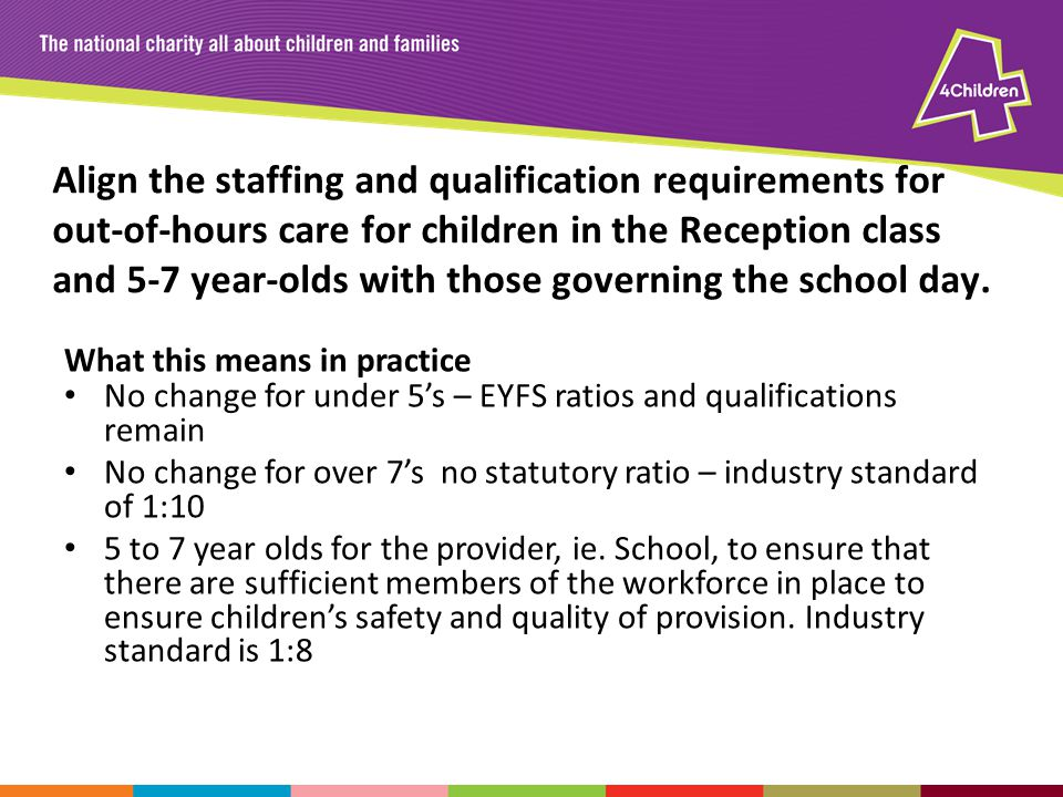 Align the staffing and qualification requirements for out-of-hours care for children in the Reception class and 5-7 year-olds with those governing the school day.