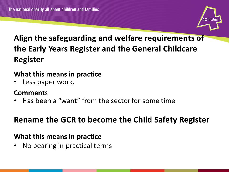 Align the safeguarding and welfare requirements of the Early Years Register and the General Childcare Register What this means in practice Less paper work.