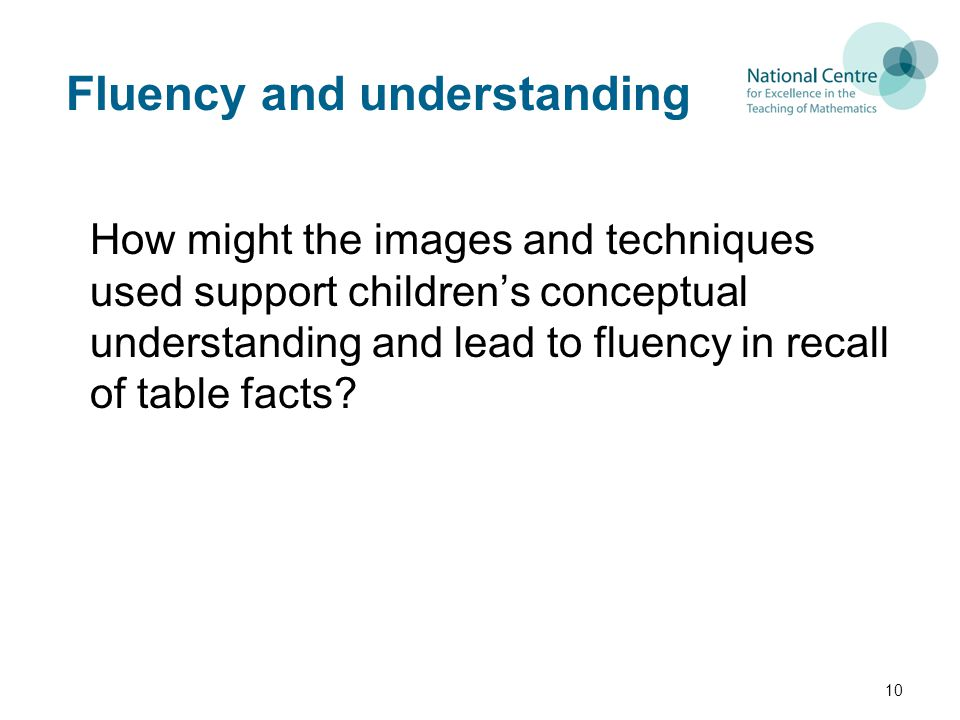 Fluency and understanding How might the images and techniques used support children's conceptual understanding and lead to fluency in recall of table facts.