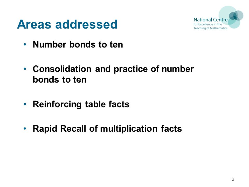 Areas addressed Number bonds to ten Consolidation and practice of number bonds to ten Reinforcing table facts Rapid Recall of multiplication facts 2