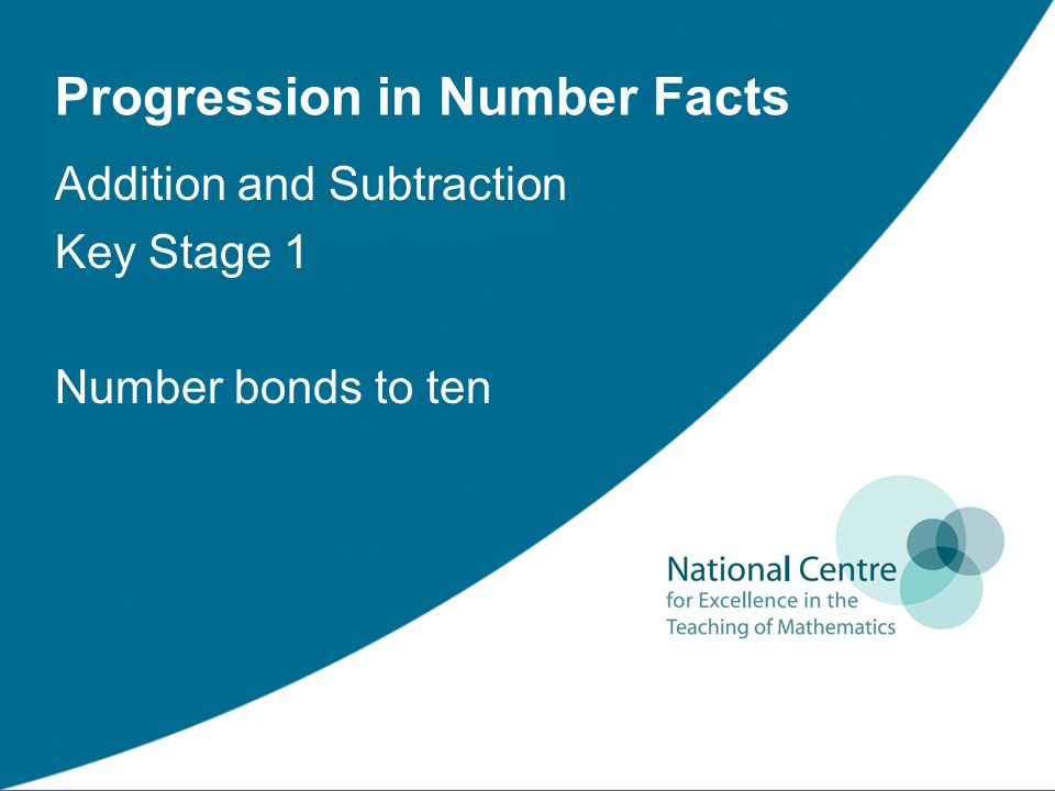 Progression in Number Facts Addition and Subtraction Key Stage 1 Number bonds to ten