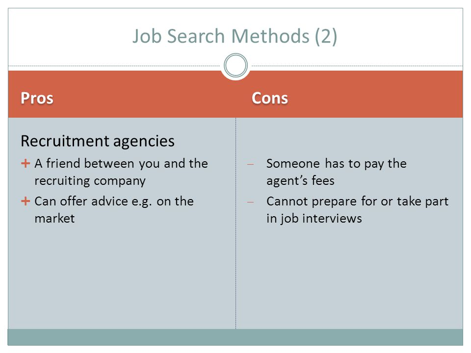 Pros Cons Recruitment agencies  A friend between you and the recruiting company  Can offer advice e.g.