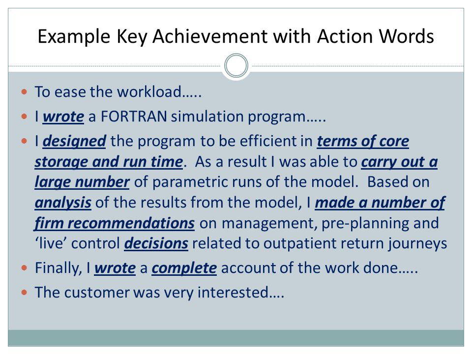 Example Unique Abilities A rational step-by-step approach to solving difficult problems Gets the most out of those she supervises enabling them to produce quality work  A unique ability may be base on more than one key achievement  In choosing key achievements they should not be too repetitive