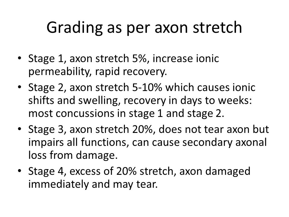 Grading as per axon stretch Stage 1, axon stretch 5%, increase ionic permeability, rapid recovery. Stage 2, axon stretch 5-10% which causes ionic shif