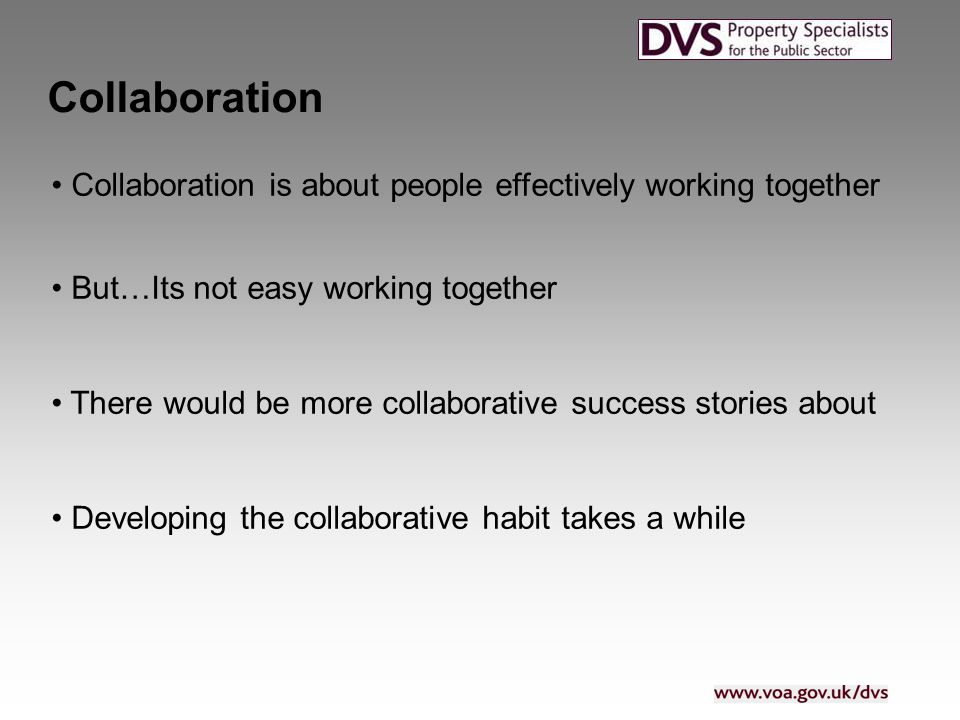 Collaboration Collaboration is about people effectively working together But…Its not easy working together There would be more collaborative success stories about Developing the collaborative habit takes a while