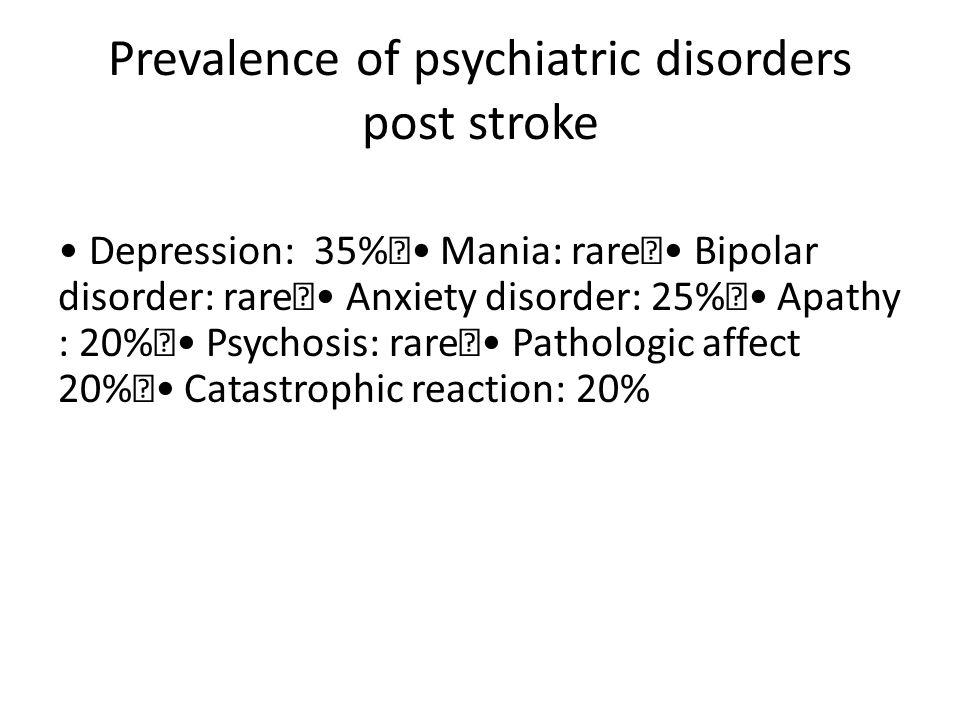 Prevalence of psychiatric disorders post stroke Depression: 35% Mania: rare Bipolar disorder: rare Anxiety disorder: 25% Apathy : 20% Psychosis: rare