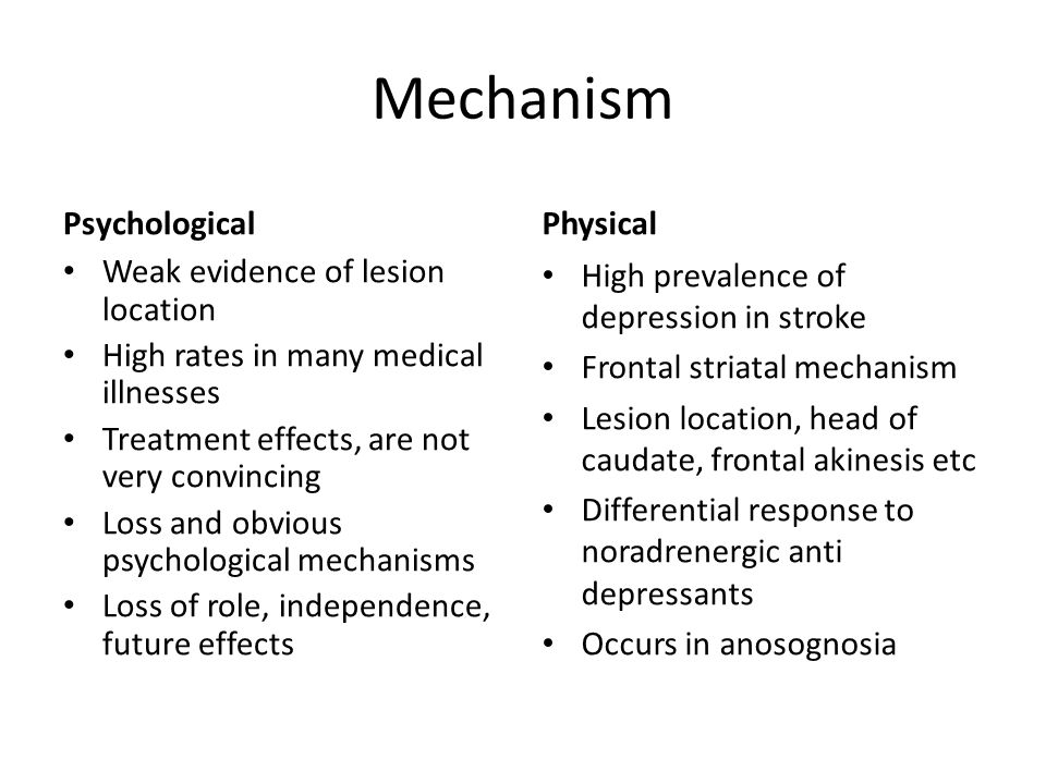 Mechanism Psychological Weak evidence of lesion location High rates in many medical illnesses Treatment effects, are not very convincing Loss and obvi