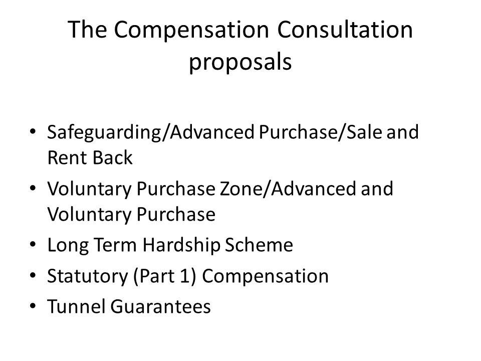The Compensation Consultation proposals Safeguarding/Advanced Purchase/Sale and Rent Back Voluntary Purchase Zone/Advanced and Voluntary Purchase Long Term Hardship Scheme Statutory (Part 1) Compensation Tunnel Guarantees