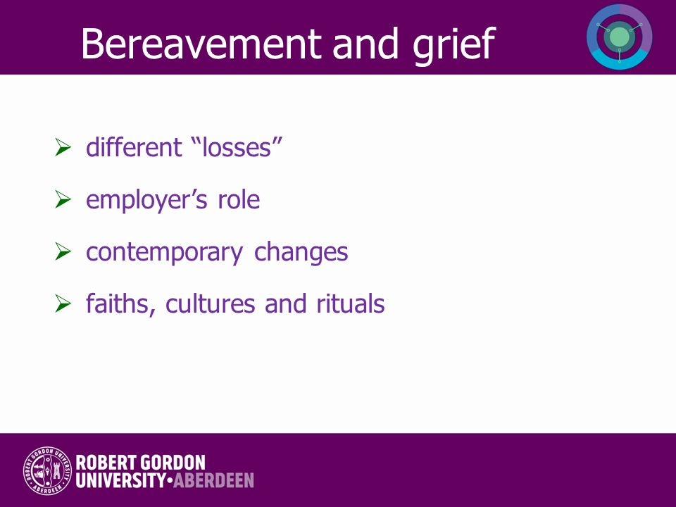 "Bereavement and grief  different ""losses""  employer's role  contemporary changes  faiths, cultures and rituals"