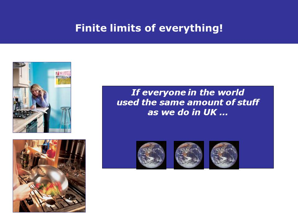 The Stuff Debate If everyone in the world used the same amount of stuff as we do in UK … Finite limits of everything!