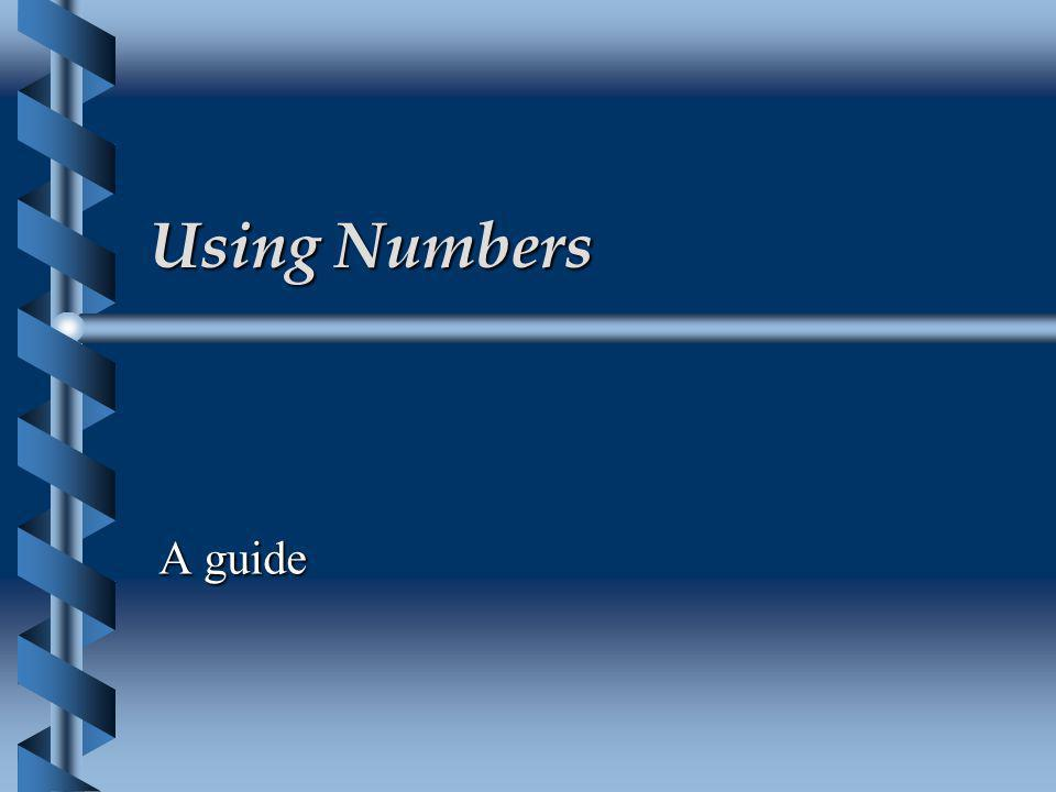 Using Numbers A guide