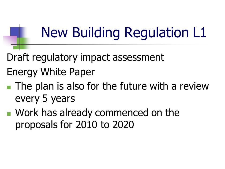 New Building Regulation L1 Draft regulatory impact assessment Energy White Paper The plan is also for the future with a review every 5 years Work has already commenced on the proposals for 2010 to 2020