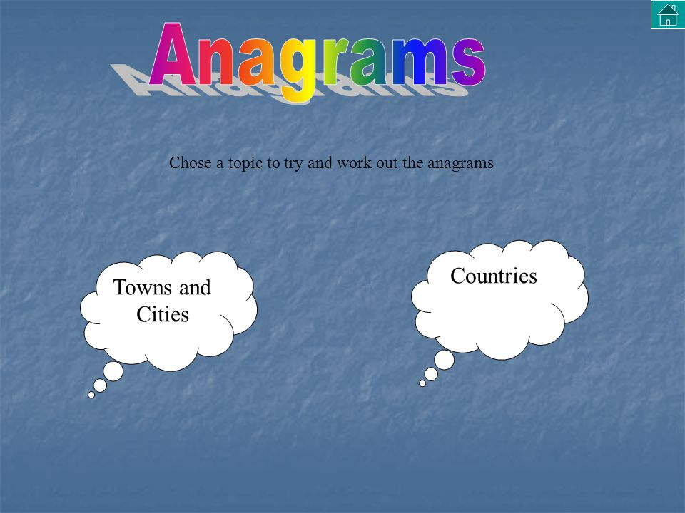 Towns and Cities Countries Chose a topic to try and work out the anagrams