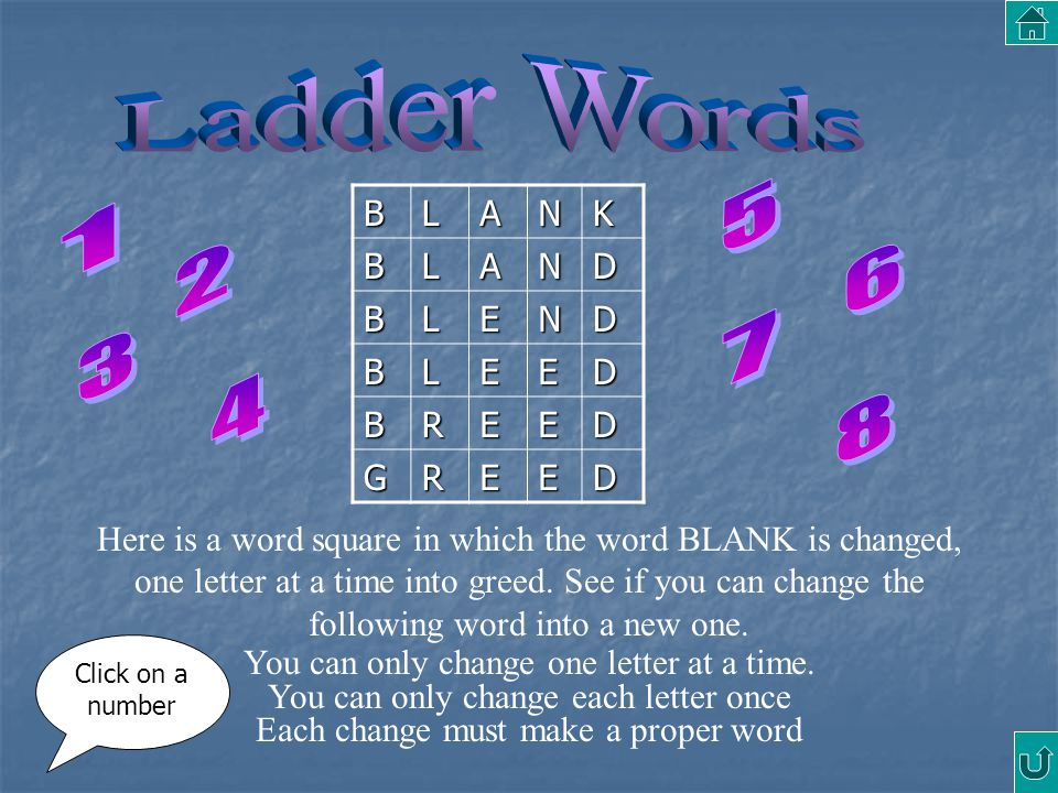 BLANKBLAND BLEND BLEED BREED GREED Here is a word square in which the word BLANK is changed, one letter at a time into greed. See if you can change th