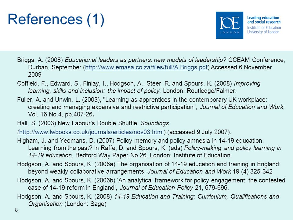References (1) Briggs, A. (2008) Educational leaders as partners: new models of leadership.