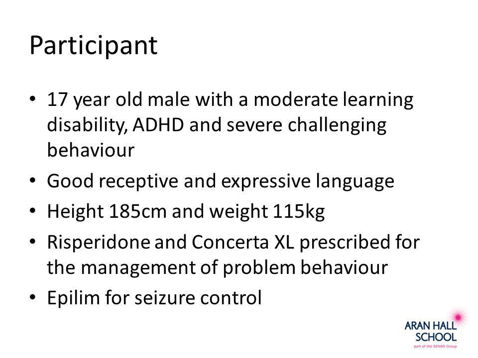 Participant 17 year old male with a moderate learning disability, ADHD and severe challenging behaviour Good receptive and expressive language Height 185cm and weight 115kg Risperidone and Concerta XL prescribed for the management of problem behaviour Epilim for seizure control