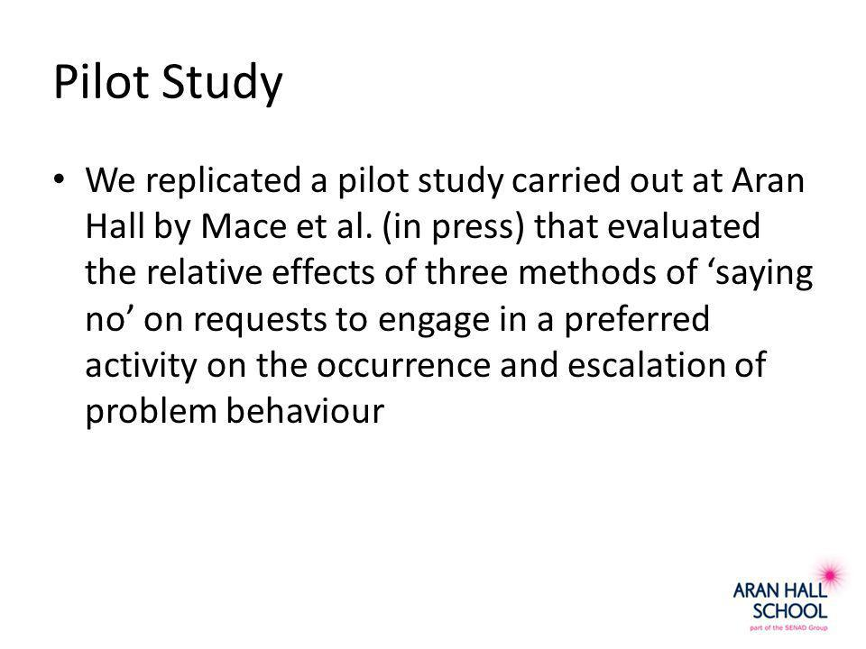 Pilot Study We replicated a pilot study carried out at Aran Hall by Mace et al.