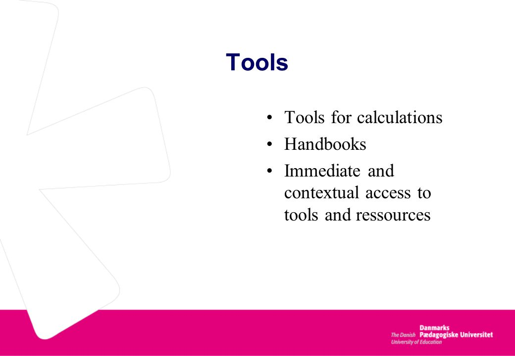 Tools Tools for calculations Handbooks Immediate and contextual access to tools and ressources