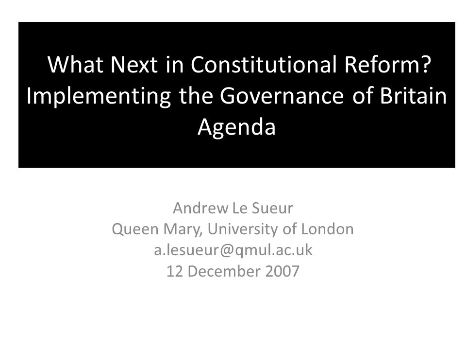 What Next in Constitutional Reform.