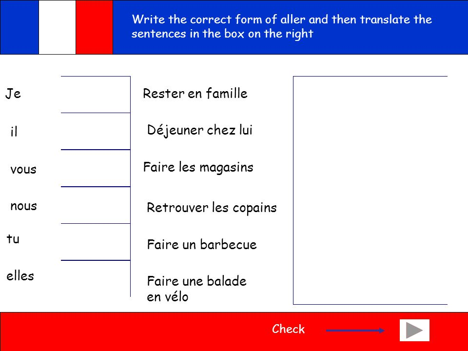 See if you can do this exercise: Write the French for the following English expressions I go/I am going We go/we are going You go/ you are goingYou goes/you are going He goes/he is goingThey go/they are going She goes/she is goingThey go/they are going Check