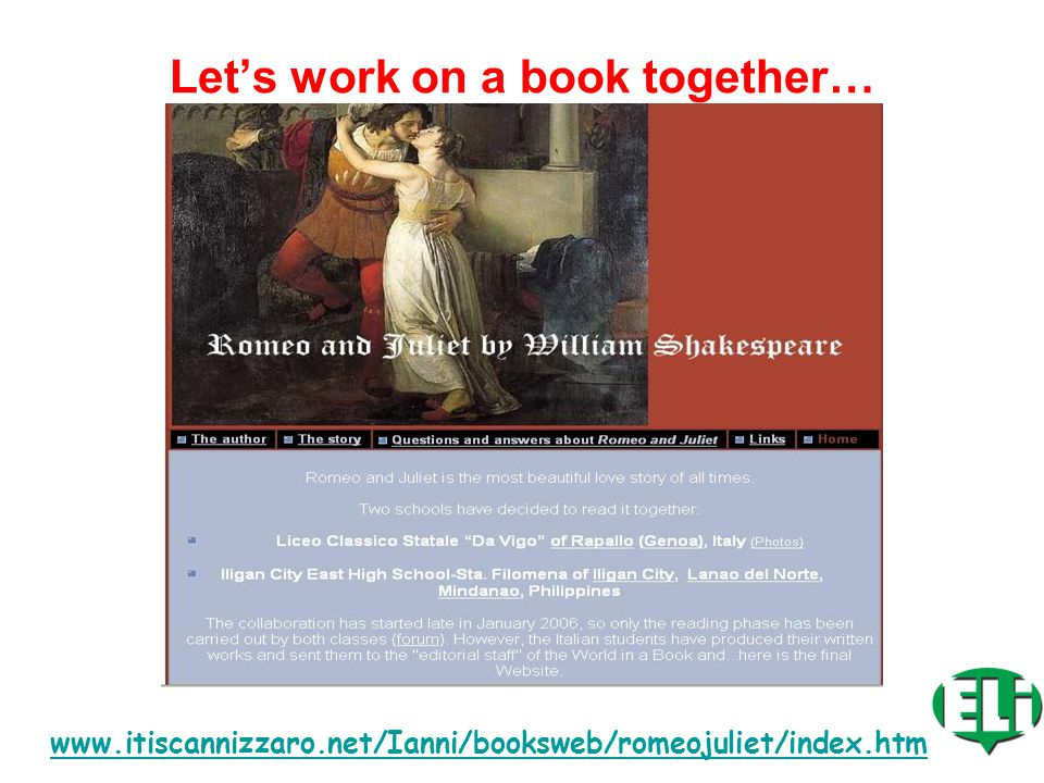 Online Resources for…: COLLABORATIVE TANDEM READING www.itiscannizzaro.net/Ianni/booksweb/home/index.htm