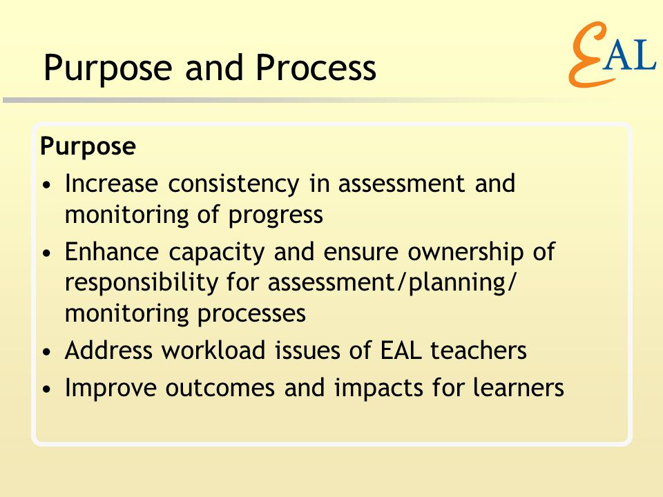 Purpose and Process Purpose Increase consistency in assessment and monitoring of progress Enhance capacity and ensure ownership of responsibility for assessment/planning/ monitoring processes Address workload issues of EAL teachers Improve outcomes and impacts for learners