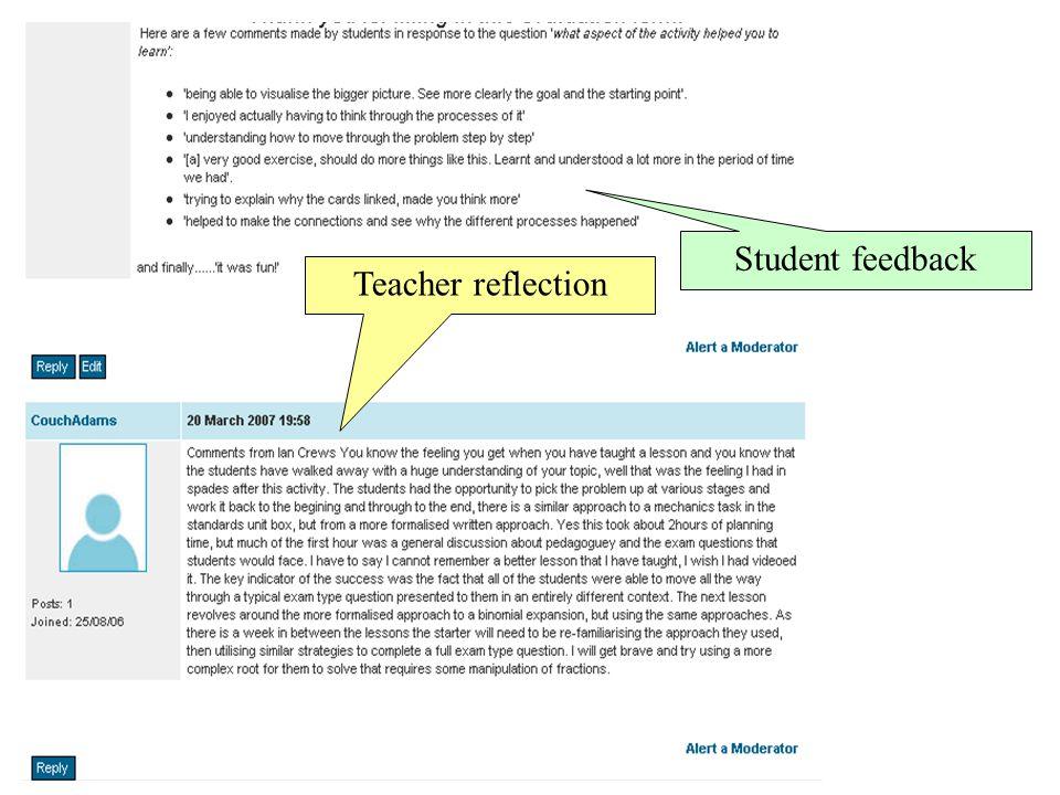 Student feedback Teacher reflection