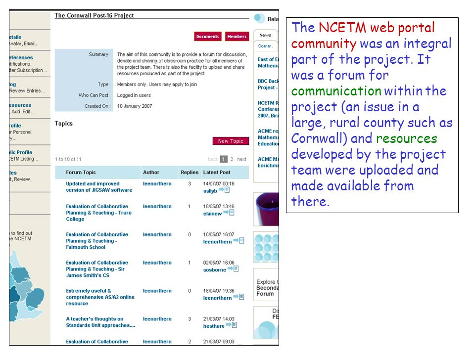 The NCETM web portal community was an integral part of the project.