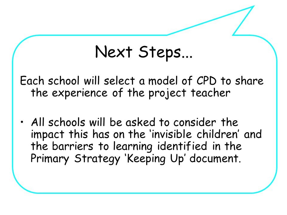 Next Steps... Each school will select a model of CPD to share the experience of the project teacher All schools will be asked to consider the impact t
