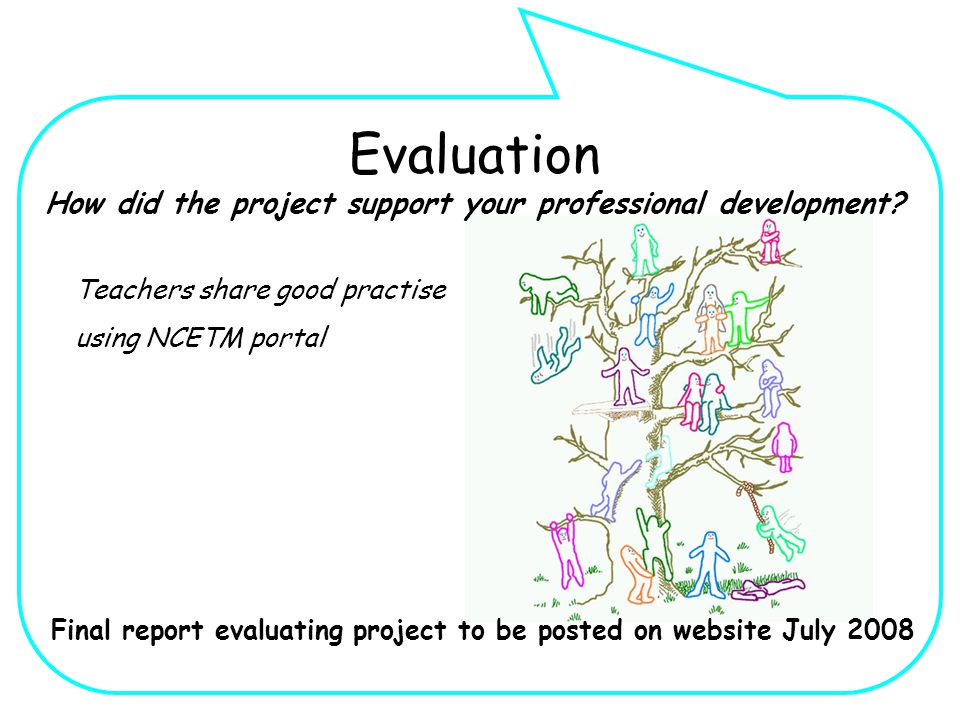 Teachers share good practise using NCETM portal Final report evaluating project to be posted on website July 2008 Evaluation How did the project support your professional development