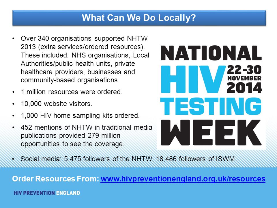 Over 340 organisations supported NHTW 2013 (extra services/ordered resources).