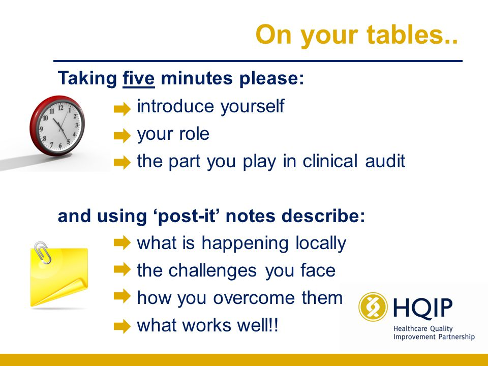On your tables.. Taking five minutes please: introduce yourself your role the part you play in clinical audit and using 'post-it' notes describe: what