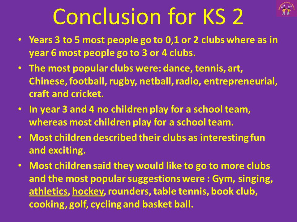 Years 3 to 5 most people go to 0,1 or 2 clubs where as in year 6 most people go to 3 or 4 clubs.