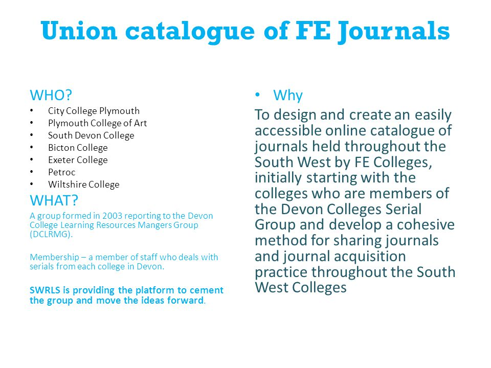 Union catalogue of FE Journals WHO.
