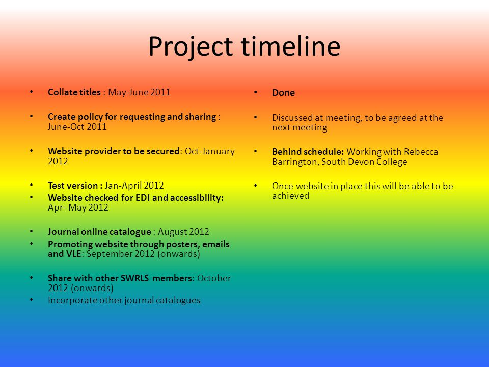 Project timeline Collate titles : May-June 2011 Create policy for requesting and sharing : June-Oct 2011 Website provider to be secured: Oct-January 2012 Test version : Jan-April 2012 Website checked for EDI and accessibility: Apr- May 2012 Journal online catalogue : August 2012 Promoting website through posters,  s and VLE: September 2012 (onwards) Share with other SWRLS members: October 2012 (onwards) Incorporate other journal catalogues Done Discussed at meeting, to be agreed at the next meeting Behind schedule: Working with Rebecca Barrington, South Devon College Once website in place this will be able to be achieved