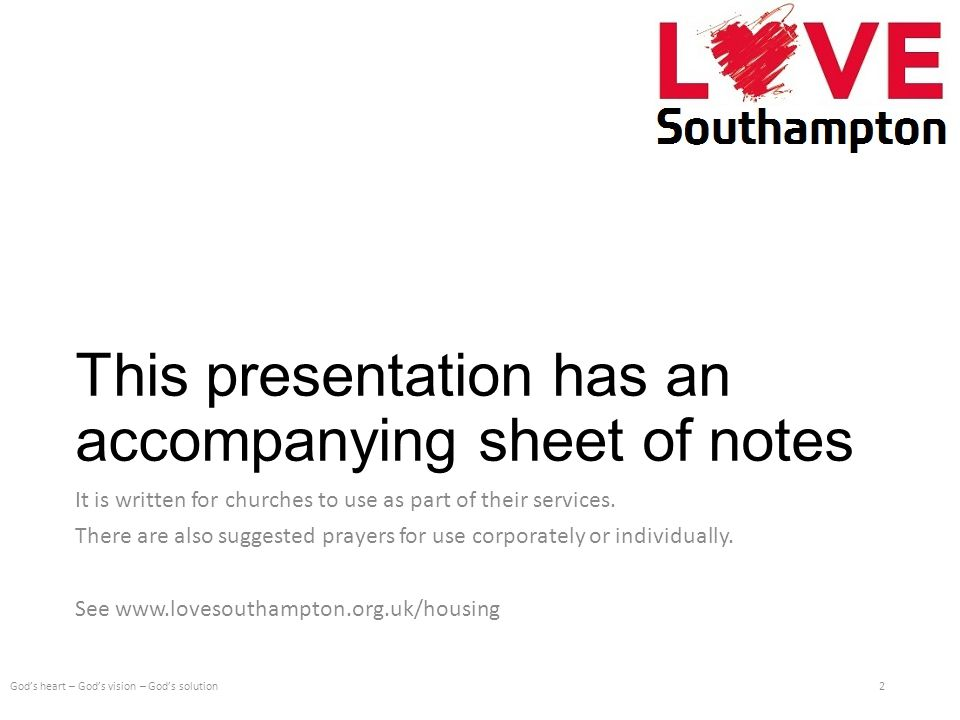 This presentation has an accompanying sheet of notes It is written for churches to use as part of their services.