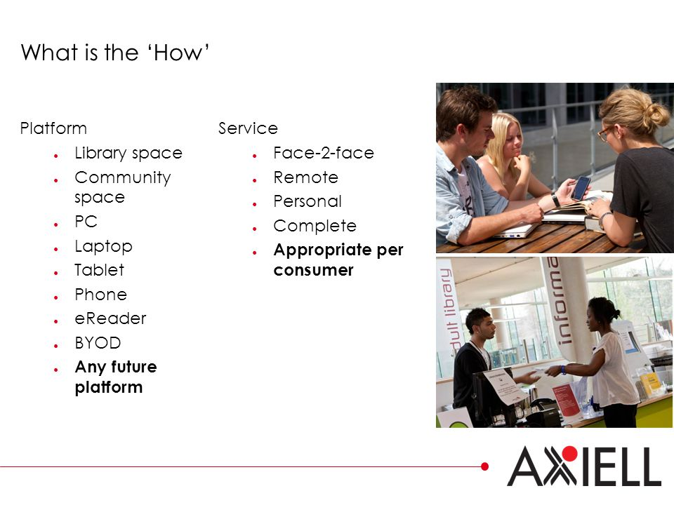 What is the 'How' Platform ● Library space ● Community space ● PC ● Laptop ● Tablet ● Phone ● eReader ● BYOD ● Any future platform Service ● Face-2-face ● Remote ● Personal ● Complete ● Appropriate per consumer