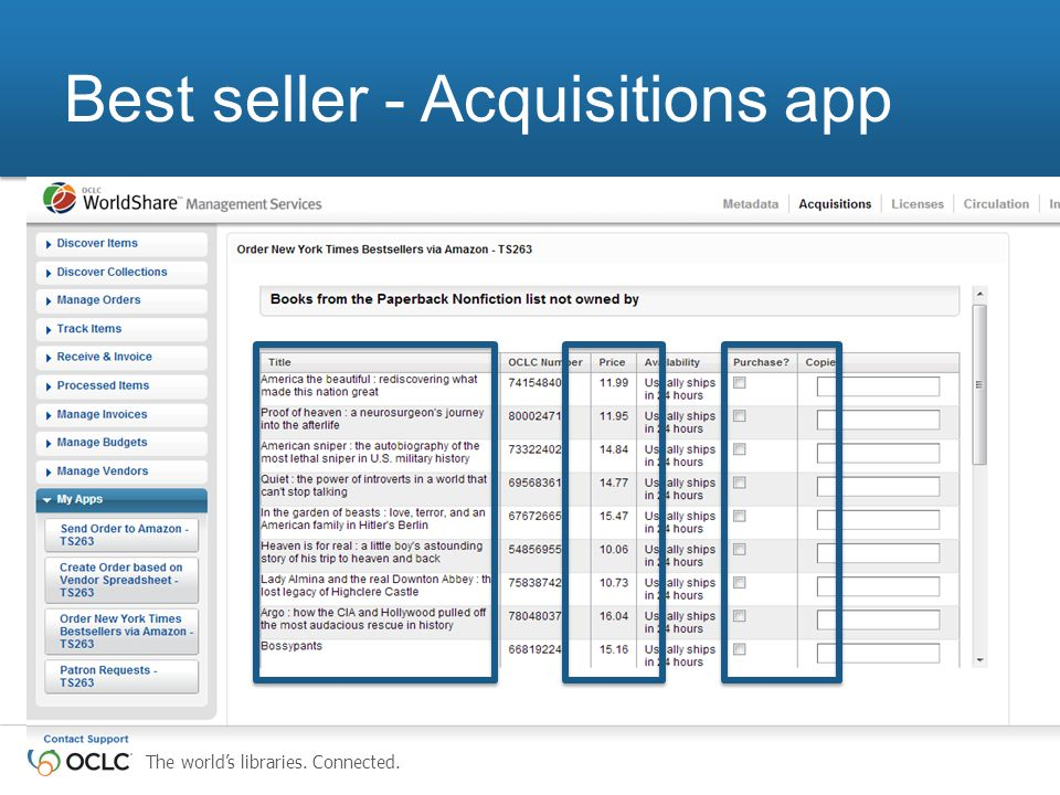 The world's libraries. Connected. Best seller - Acquisitions app