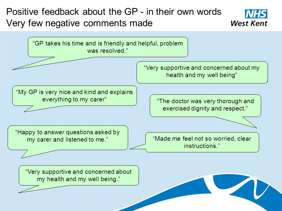 "Positive feedback about the GP - in their own words Very few negative comments made ""GP takes his time and is friendly and helpful, problem was resolv"
