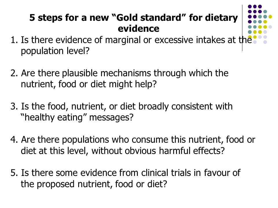 5 steps for a new Gold standard for dietary evidence 1.Is there evidence of marginal or excessive intakes at the population level.