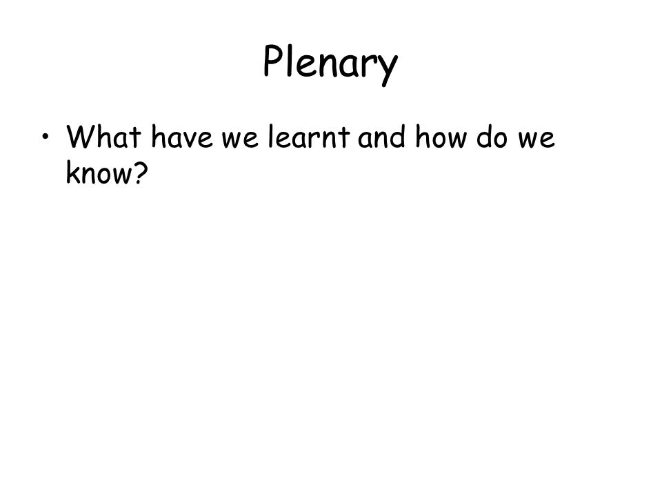 Plenary What have we learnt and how do we know?