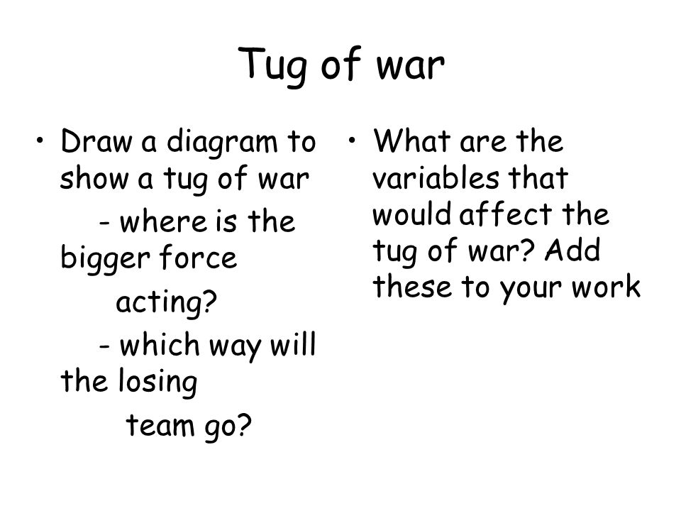 Tug of war Draw a diagram to show a tug of war - where is the bigger force acting? - which way will the losing team go? What are the variables that wo