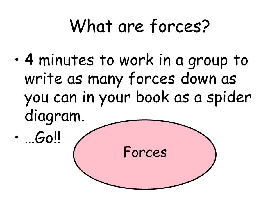 What are forces? 4 minutes to work in a group to write as many forces down as you can in your book as a spider diagram. …Go!! Forces