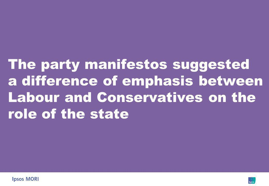 The party manifestos suggested a difference of emphasis between Labour and Conservatives on the role of the state