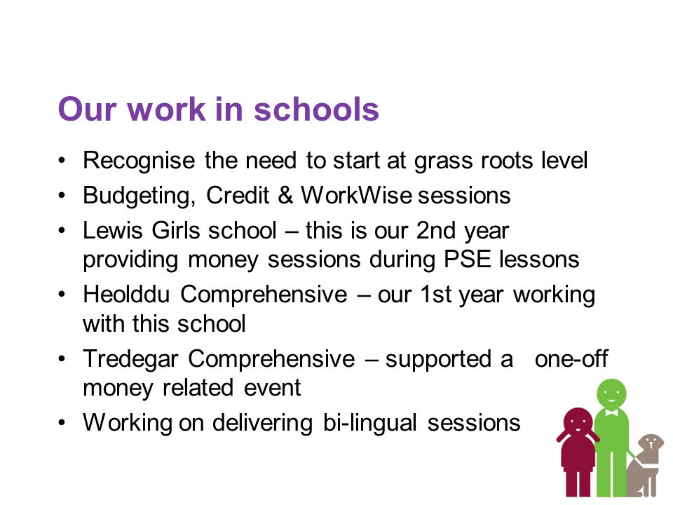 Our work in schools Recognise the need to start at grass roots level Budgeting, Credit & WorkWise sessions Lewis Girls school – this is our 2nd year providing money sessions during PSE lessons Heolddu Comprehensive – our 1st year working with this school Tredegar Comprehensive – supported a one-off money related event Working on delivering bi-lingual sessions