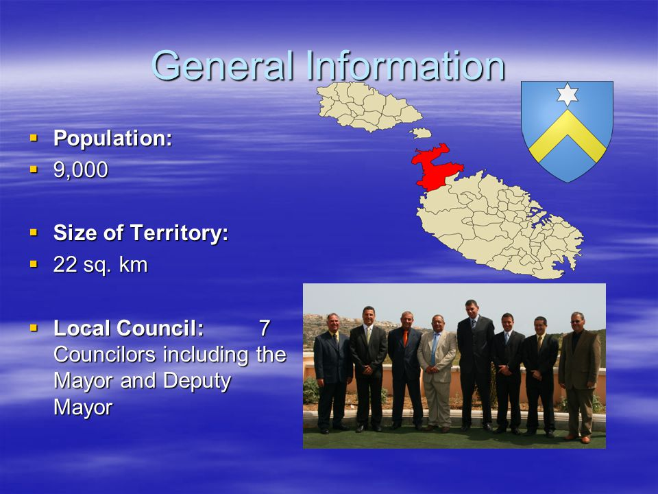 General Information  Population:  9,000  Size of Territory:  22 sq.