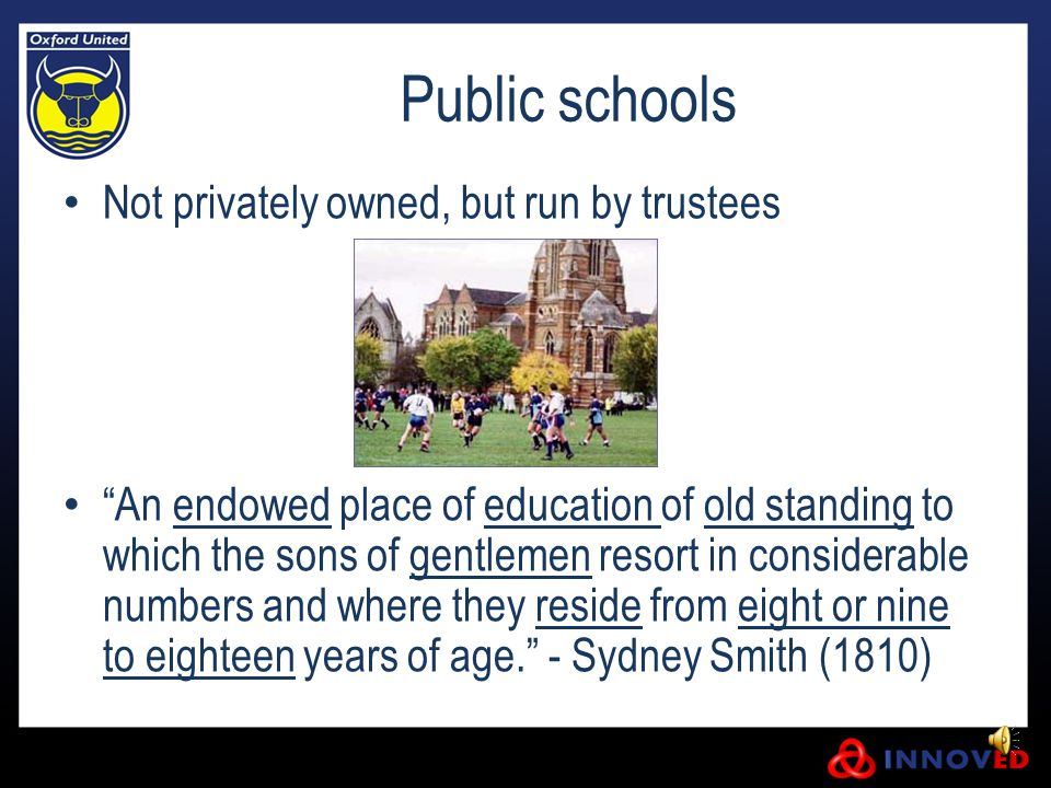 Public schools Activities in these schools changed massively over 100 years.